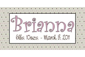 Kids Tan Polka Dot with Date Name Art - 15